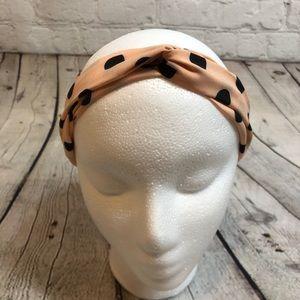 Knotted Boho Headband Peach Black Polka Dot